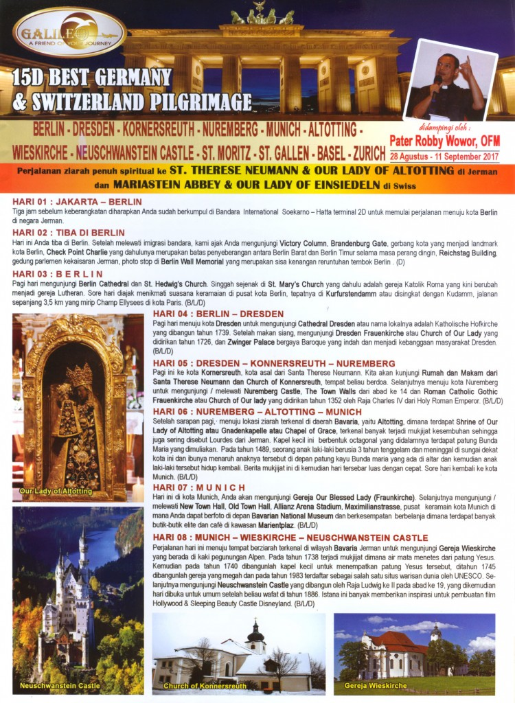 15D best Germany & Switzerland Pilgrimage 2017